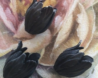Blackened brass large tulip bead caps 2 pc