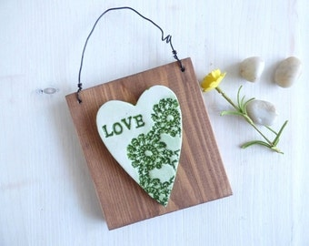 Love, Green Lace, Textured  Wall Hanging