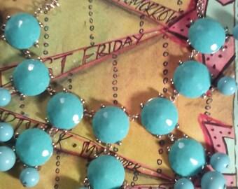 Turquoise Blue Boho Style Babble Statement Necklace