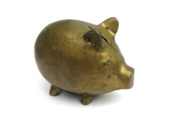 Brass Piggy Bank - Vintage