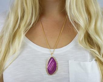 Boho Agate Slice Pendant Necklace, Pink Agate Pendant Necklace, Agate Stone Pendant