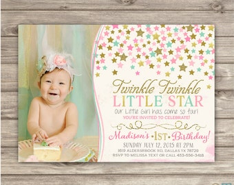Twinkle Twinkle Little Star Birthday Invitations Photo Shabby - Baby girl first birthday invitation ideas