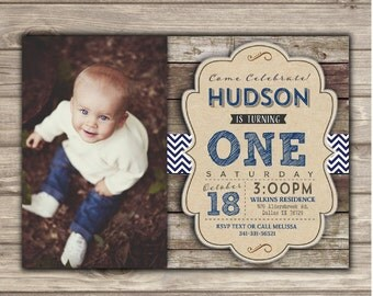 first Photo Birthday Printable Invitations Boy Rustic wood Blue Chevron Navy Grey Photography Boy Picture Invitations 1st Birthday NV4541