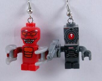Mini Alien and Mini Robot Dangle Earrings Handmade from Lego and Mega Blok bricks