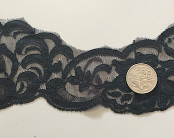 Black Lace 80mm by 5 metres   **Free Postage**