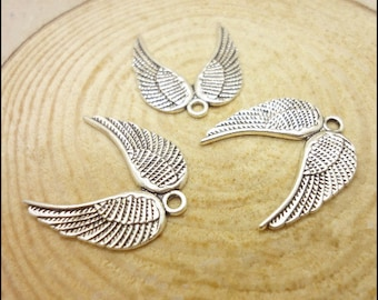 30pcs 21x19mm Antique Silver Angle Wings Pendants Wing Charm  JH1060
