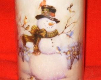 Holiday snowman led candle