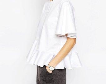 MORGAN PEPLUM WHITE Top  Minimalist available in White, Flared White Top Women blouse Minimalistic Trending clothes