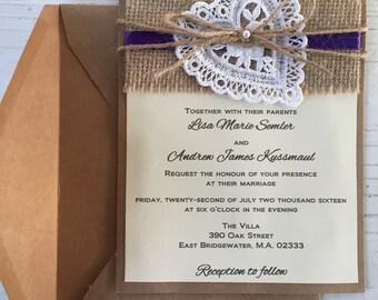 Rustic Wedding Invitation, Burlap Wedding Invitation, Lace Wedding Invitations, Country Lace, Shabby Chic, Birthday, Party, Handmade
