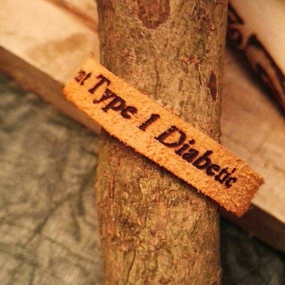 DIABETIC TYPE 1 insulin dependant medical alert id Handmade unique Norse engraved Burgundy Tan leather wrist cuff wristband #diabetes