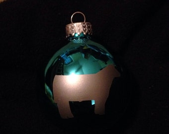Bright teal show steer ornament
