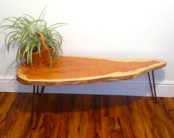 Rustic Modern Live Edge Yew Coffee Table