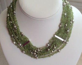 Pretty Green Peridot and Silvery Grey Freshwater Pearl Multi strand Necklace