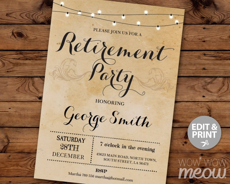 retirement invitation retired invite instant download