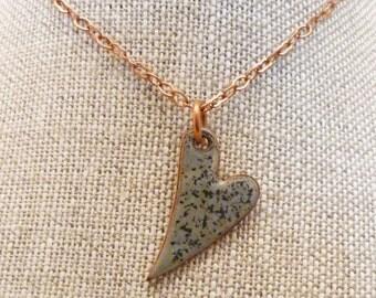 Torch fired enamel heart on copper chain