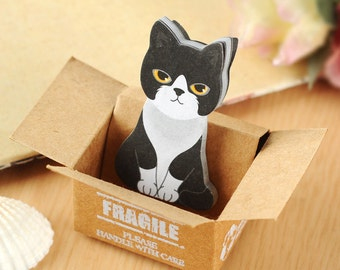 Cat in a box Memo Pad Sticky Note Cute Cat planner sticker Post-it note Bookmark Free Shipping • Sido Korean Shorthair Black & White Kitty