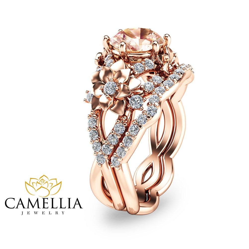 14K Rose Gold Morganite Bridal Set Floral Design Wedding Ring