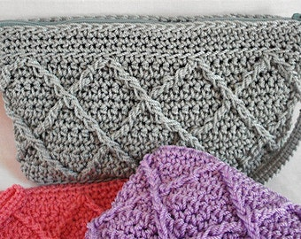 Clutch Crochet PATTERN | Raised Diamonds | Makeup Bag | Pencil Case | Crocheted Purse | Crocheted Bag | Women | Teens | Girls | Accessory