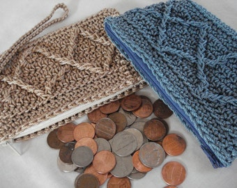 "Coin Purse Pattern ""Raised Diamonds"" design, change purse pattern, crochet pattern, small zipper wallet, woman coin pouch, bestfriend gift"