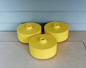 Yellow Bowl w/ Finger Lid- 2 available - Heller Vignelli - 5 inch diameter - Massimo Vignelli