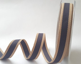 Storm Grey Oatmeal Stripe 15mm Woven Ribbon