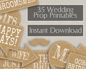 35 Rustic Wedding Photo Booth Prop Printables - Rustic Burlap Effect, Printable photobooth sign, wedding props, burlap chic wedding hessian