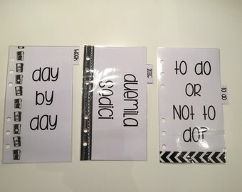 6 Dividers Size personal black & white