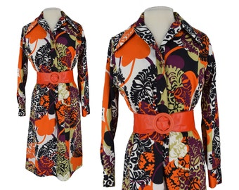 Vintage Dress, 1970s Dress, 70s Dress, Vintage Shirt Dress, Lanvin Paris, Lanvin Shirt Dress, Designer Dress, Floral Print Dress, Large