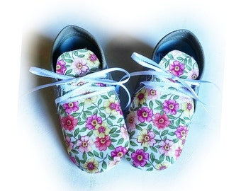 summertime floral baby shoes