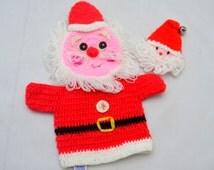 Vintage Santa Claus Hand Puppet, Dakin Knit Mitts, Plus Bonus Knitted Santa Face, 1970s Christmas
