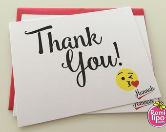 Thank you cards, Set of 10 note cards with envelopes, personalized, girl stationary, stationery set, note cards, emoji, emoji stationery
