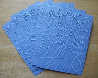 6 Thanks Embossed Card fronts Toppers A2 size Card Stock Blue