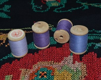 4 Soviet spools with threads, vintage wooden spools, ussr sewing supplies, made in USSR