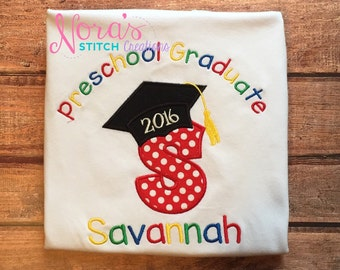 Preschool Graduate personalized school shirt - Primary colors Pre K graduation shirt