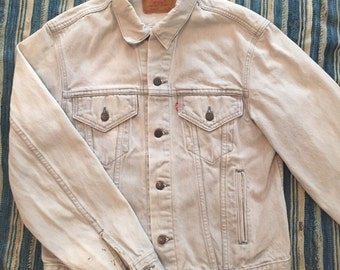 Vintage 1980s Gray Levis Type 3 Denim Jacket Size 40/42 Made In USA