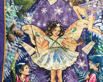 Enchanted Fairy Panel by Micheal Miller fabrics. Beautiful detail in purple.