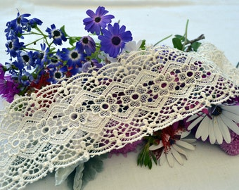 beautiful cream embroidered lace, mirror edging, 7cm wide. CR013,