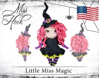 "crochet doll pattern ""Little Miss Magic"" little witch eBook PDF (english language) Halloween"