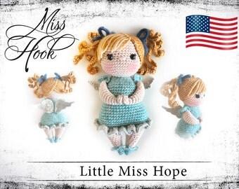 "crochet doll pattern ""Little Miss Hope"" guardian angel eBook PDF (english language)"