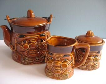 Vintage Kitsch Benjamin Franklin Ceramic Tea Set