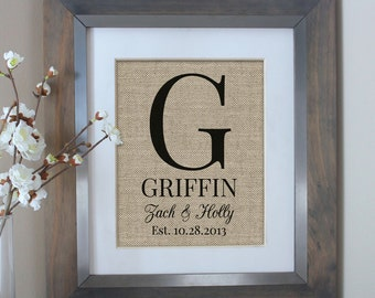Monogrammed Wedding Gift | Personalized Family Name Sign | 1 year, 10 year, 25th Wedding Anniversary Gift | Housewarming Gift