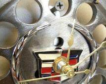 Cadillac Emblem on Timing Gear Set Desk or Wall Clock Automotive Decor;