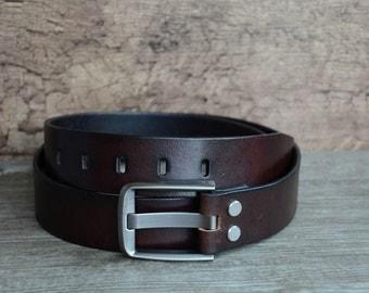 Mens Belt,Leather Belt,Full Gain Belt , Durable Cowskin Belt ,  Dark Brown