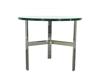 10% Off Sale! Vintage Mid Century Modern Chrome & Glass Side Occasional Table Barcelona Style