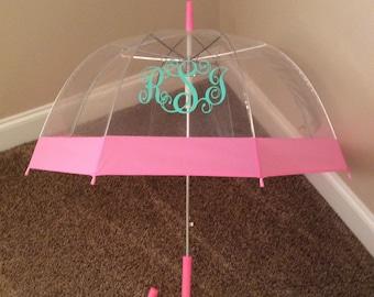 Umbrella,personalized umbrella,monogrammed umbrella,clear dome umbrella with colored stripe,chevron umbrella,vinyl monogram umbrella
