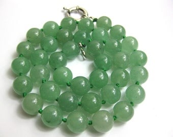 Natural 10mm Green Chinese Jade Necklace -nk-jd2