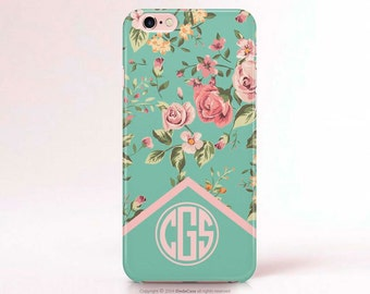 Monogram Samsung Galaxy S7 Edge Case Floral iPhone Case Monogram iPhone 6S Plus Case Monogram Samsung Galaxy S6 Case Monogram iPhone 6 Case