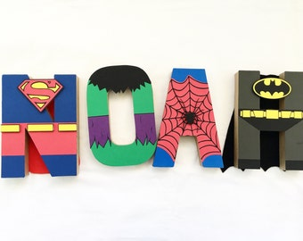 Super hero letter art / superhero party decor / superhero birthday party / superhero letter art