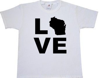Love Wisconsin Youth T-Shirt by Inktastic