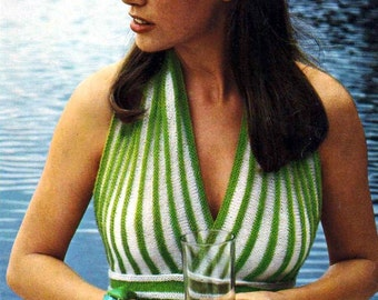 Knitted Summer Top ... Halter Neck Summer Top ... PDF Knitting Pattern ... Beach, Resort, Holiday ... Instant Download Pattern
